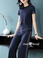 ชุดเซทแฟชั่น ชุดเซ็ทเสื้อ+กางเกงงานเกาหลี ผ้าพื้นสีกรมเนื้อดีผ้านุ่มใส่สบาย