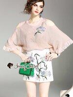 ชุดเซทแฟชั่น งานเซ็ทสวยหวานลุคสาวสไตล์เกาหลี ดีเทลเสื้อทรงกว้างเนื้อผ้าเบาใส่สบาย