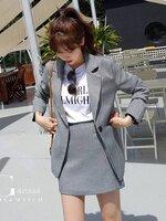 ชุดเซทแฟชั่น Set เสื้อสูท+กระโปรง ดีไซน์เรียบหรูดูดี