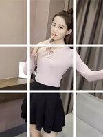 เสื้อแฟชั่นเกาหลี คอแต่งโบว์ ปลายแขนแตร สีชมพู