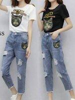 ชุดเซทแฟชั่น เซทเสื้อยืดกับกางเกงยีนส์ เนื้อผ้า cotton 100%