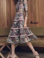 เดรสแฟชั่น Dress เนื้อผ้าซีทรู ปักลายดอกไม้ สีหวาน