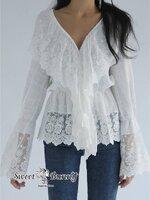 เสื้อแฟชั่น เสื้อลูกไม้เกาหลี ผ้าเนื้อดีหนานุ่มสีขาว คอวี