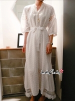 เดรสแฟชั่น Maxi Dress สีขาว งานสไตล์เกาหลี ตัวผ้าลายฉลุ