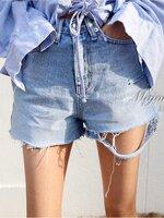 กางเกงแฟชั่น korea denim shorts กางเกงยีนส์ขาสั้นเอวสูง