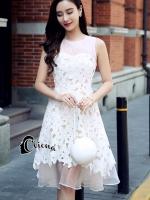 เดรสแฟชั่น mini dress แขนกุด ซิปหลังช่วงอกเป็นผ้าซีทรูสีโอรส