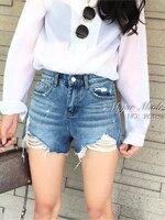 กางเกงแฟชั่น กางเกงยีนส์ขาสั้นเอวสูง เนื้อผ้าดีเกรดเกาหลี ฟอกสีสวยมาก