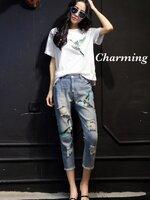 ชุดเซทแฟชั่น เซทเสื้อปักงานสีแต่งลายนก สีสดใส กางเกงยีนส์ฟอกขายาว