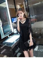 KTFN เดรสแฟชั่นเกาหลี ผ้าลูกไม้ ดีเทลคอเสื้อมีสร้อยคอคริสตัล สีดำ