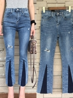 กางเกงแฟชั่น กางเกงยีนส์ขาบาง เอวกลาง ผ้ายีนส์ยืด