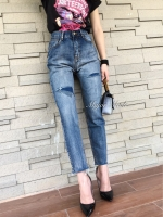 กางเกงแฟชั่น กางเกงยีนส์ทรงบอยดีไซน์เกร๋ สีเฟดสวยสุดๆ แต่งขาดปะ