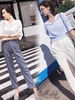ชุดเซทแฟชั่น ชุด Set 2 ชิ้น เสื้อคอวี ปกพับ แขน 3 ส่วน+กางเกงขายาว แต่งเอวจั๊ม