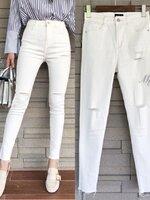 กางเกงแฟชั่น กางเกงยีนส์สกินนี่สีขาวรุ่นใหม่ นิ่มมาก เอวสูง ใส่ง่าย