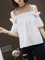 KTFN เสื้อแฟชั่น โชว์ไหล่ ซีทรูหน้าอก เย็บสม๊อก ผ้านิ่มเรียบลื่น สีขาว