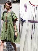 เดรสแฟชั่น Dress แนวโบฮิเมียน ปักลาย เดินด้ายหลากสี