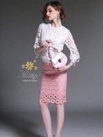 ชุดเซทแฟชั่น ชุดเซท เสื้อ+กระโปรง เป็นผ้าลูกไม้ลายสวย ใช้ลูกไม้ 2 แบบทำค่ะ