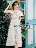 พร้อมส่ง ~ Lady Kelly Off-Shoulder Embroidered Cotton Dress