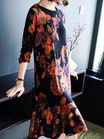 เดรสแฟชั่น Mini Dress คอกลม แขนยาว ทรงตรงชายระบาย เนื้อผ้าโพลีเอสเตอร์