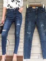 กางเกงแฟชั่น กางเกงยีนส์ขายาว ฟอกสีสวย เอวสูง
