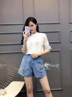 ชุดเซทแฟชั่น ชุดเซ็ทเสื้อ+กางเกงยีนส์ขาสั้นเกาหลี เสื้อผ้าชีฟองสีขาวเนื้อดี
