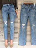 กางเกงแฟชั่น Korea denim jeans กางเกงยีนส์ขาบางนิดๆ