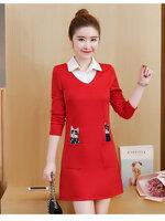 KTFN ชุดเดรสแฟชั่นเกาหลี คอปก มีกระเป๋า ปักลายแมว สีแดง