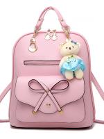 กระเป๋าเป้พวงกุญแจหมี หนัง PU ปรับสายให้สะพายไหล่ สะพายข้างได้ สีชมพูหน้าโบว์