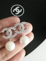 พร้อมส่ง ~ Chanel Earring งานเพชร CZ แท้ค่ะ เพชร 2 ชั้นประดับมุกสวยเลอค่าม๊วกๆ