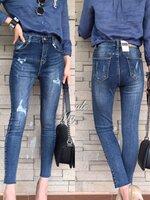 กางเกงแฟชั่น กางเกงยีนส์ขา 8 ส่วน ดีไซร้ทรงเอวสูง