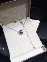 พร้อมส่ง ~ Diamond Bvlgari Necklace สร้อยคอบูการี่ ปลอกดำ งาน1:1