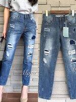 กางเกงแฟชั่น ZARA Denim pants กางเกงยีนส์ขา 8 ส่วน ผ้ายีนส์เนื้อหนา ฟอกนิ่ม