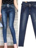 กางเกงแฟชั่น กางเกงยีนส์ขายาวเอวสูง มาพร้อมเข็มขัดสีเดียวกับกางเกง(ถอดออกได้)