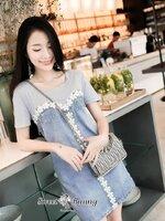 เดรสแฟชั่น ชุดเดรสยีนส์ปักเกาหลี ตัวเสื้อผ้ายืดคอตตอนสีเทาเนื้อดี