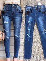 กางเกงแฟชั่น กางเกงยีนส์เอวสูงสียีนส์ฟอก ดีไซด์เก๋ด้วยการแต่งแต่งตอกตาไก่ร้อยเชือกเกร๋ๆๆที่ขอบกระเป๋า