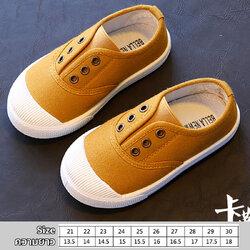รองเท้าผ้าใบเด็กแบบสวม สีเหลืองน้ำตาล