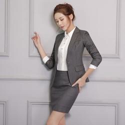 (พร้อมส่ง) ชุดสูทผู้หญิงยูนิฟอร์มพนักงานออฟฟิศ ชุดเสื้อสูทมีปกกระโปรงสั้น สีเทาเข้ม