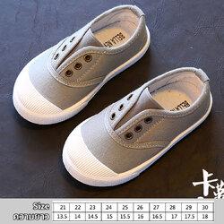 รองเท้าผ้าใบเด็กแบบสวม สีเทา