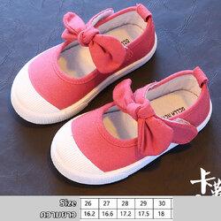 รองเท้าผ้าใบเด็กผูกโบว์ สีชมพูเข้ม