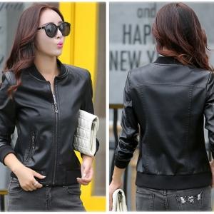 พร้อมส่ง เสื้อแจ็คเก็ตหนัง เสื้อแจ็คเก็ตผู้หญิง เข้ารูปพอดีตัว สีดำ แต่งซิปเก๋ ไม่มีปก จั๊มที่เอว แฟชั่นเกาหลี
