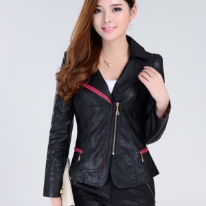พร้อมส่ง เสื้อแจ็คเก็ตหนัง เสื้อแจ็คเก็ตผู้หญิง เข้ารูปพอดีตัว คอจีน มีปก สีแดง แต่งซิปเก๋ ขลิบดำ แฟชั่นเกาหลี สำเนา