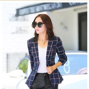 พรีออเดอร์ เสื้อสูทผู้หญิง แฟชั่นชุดทำงาน เสื้อสูทลายสก็อต สูทผู้หญิงวัยทำงาน ผ้าโพลีอีสเตอร์ ลายสก๊อตสไตล์เกาหลี