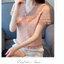 เสื้อแฟชั่นสไตล์เกาหลี ผ้าลูกไม้ลายดาว คอวีแต่งระบายอัดพรีท แอวสม๊อก สีชมพูนู้ด thumbnail 3