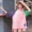 [พร้อมส่ง] เสื้อยืดตัวหลวมแนวสตรีทสไตล์เกาหลีสีชมพูหวานแขน 7 ส่วน thumbnail 9