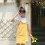 เดรสยีนส์แฟชั่นขอบรุ่ย สายเดี่ยว สีเหลืองน่ารักสดใส พร้อมเสื้อยืดสีขาว thumbnail 2