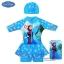 Size XS - Swimsuit for Girls ชุดว่ายน้ำ เด็กผู้หญิง Disney Frozen บอดี้สูทเสื้อแขนยาว กระโปรงกางเกง สีฟ้า สกรีนลาย เจ้าหญิง เอลซ่า โอลาฟ มาพร้อมหมวกว่ายน้ำและถุงผ้า สุดน่ารัก ใส่สบาย ดิสนีย์แท้ ลิขสิทธิ์แท้(สำหรับเด็กอายุ 6เดือน-2 ปี) thumbnail 1