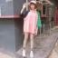 [พร้อมส่ง] เสื้อยืดตัวหลวมแนวสตรีทสไตล์เกาหลีสีชมพูหวานแขน 7 ส่วน thumbnail 2
