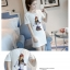 เดรสแฟชั่นผ้าคอตตอน พิมพ์ลายการ์ตูนผู้หญิงแฟชั่น สีขาว thumbnail 3