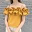 เสื้อแฟชั่นปาดไหล่ จับจีบระบายรอบอก มีสายบ่า สีเหลืองมัสตาร์ด thumbnail 7