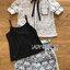 ชุดเซทแฟชั่น เซ็ตเสื้อเชิ้ตและกางเกงผ้าลูกไม้สีขาวตกแต่งริบบิ้นสีดำ thumbnail 18