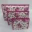 กระเป๋าเครื่องสำอางค์ นารายา ผ้าคอตตอน ทรงสี่เหลี่ยมผืนผ้า พื้นสีขาว ลายดอกกุหลาบ สีชมพู เป็นชุด 3 ชิ้น Size L,M,S (กระเป๋านารายา กระเป๋าผ้า NaRaYa) thumbnail 3